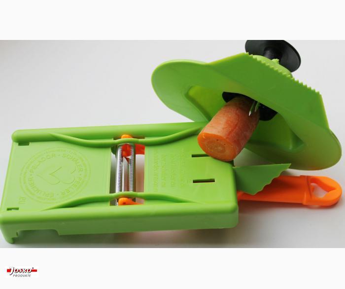 3 tlg. Set Herzschäler mit 2 Klingen + Hobelplatte + Fingerschutz alles zum Schälen, Julienneschneiden, Hobeln