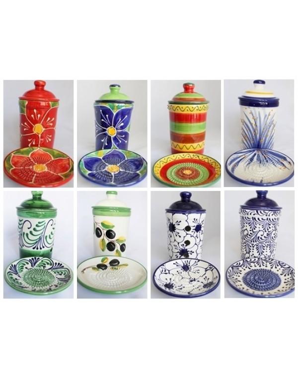 Reibetellerset  und  Vorratstopf, Knoblauchtopf  Keramik handgemacht Original 4 tlg. SET