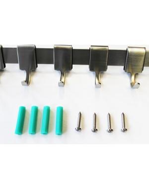 SET 2 Hakenleisten aus Edelstahl  mit passenden Schrauben- und Dübel-Sets