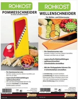 3 tlg SET Pommesschneider + Wellenschneider +  Fingerschutz